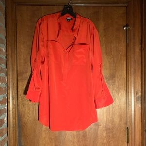 DKNY Red Silk Tunic Blouse Collarless Fold-up